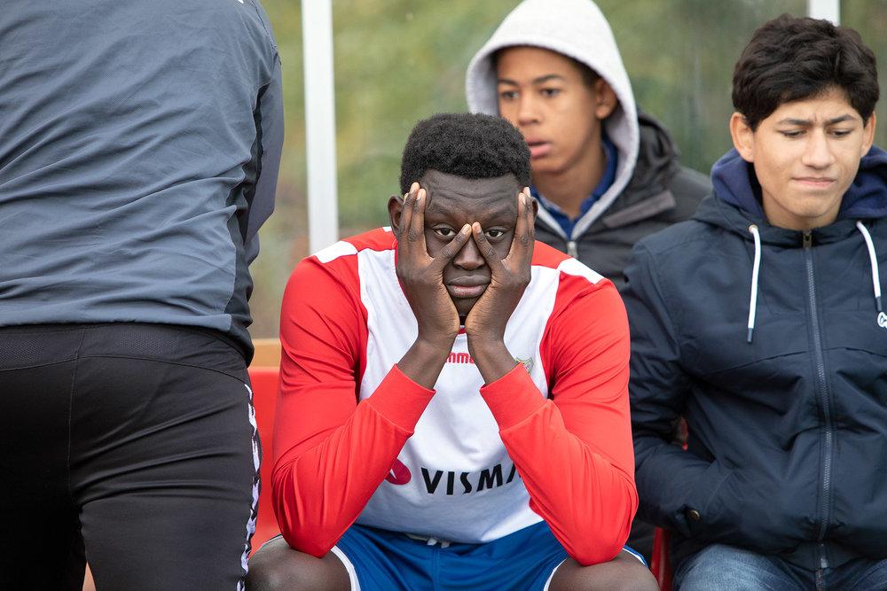 Viktige spillere skadet og på benken mot RBK - da er det lov å være litt skuffet for Abdoulai like etter kampen. Men 3. plass i NM er tross alt veldig bra! Opp med hodet ! :D  Foto: BillyBonkers