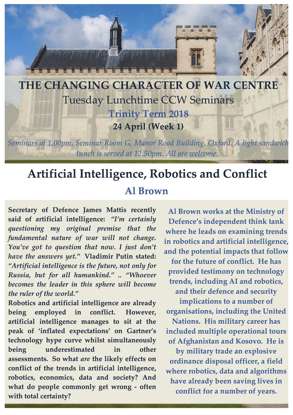 Artificial Intelligence Robotics And Conflict By Al Brown The