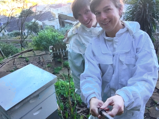 Aviva and I with our hive on Mt. Sutro, February 2016.