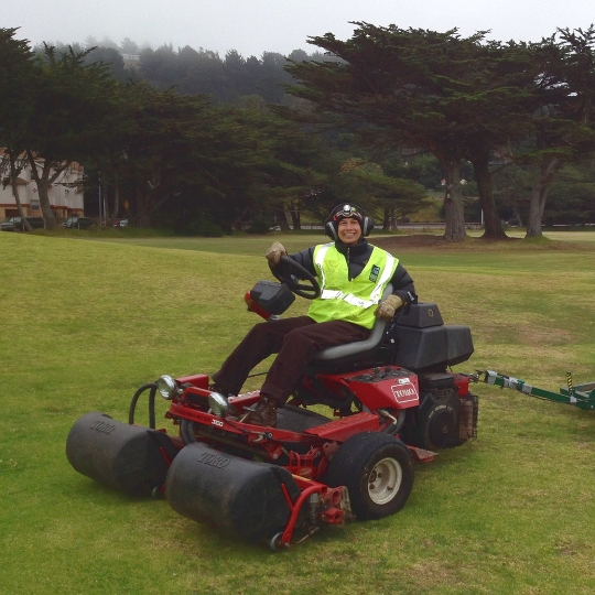 Me on greens lawn mower at Sharp Park, my favorite park to work at.  October 2013.