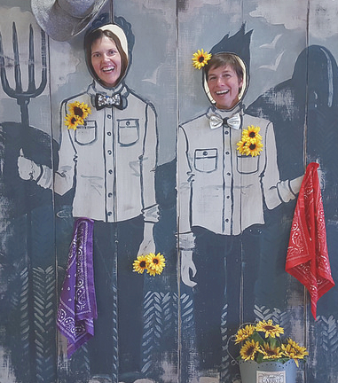 Me and fellow Master Gardener, Melissa Grabanski, goofing around at the Master Gardners' Spring Garden Market.