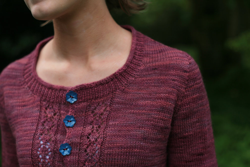 {yoke on a contiguous-sleeve cardigan}