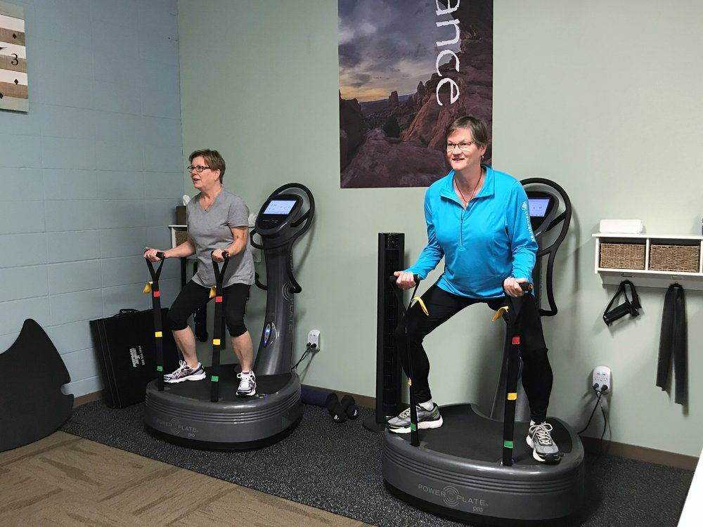 Clients working on Power Plate