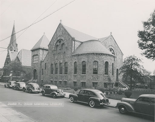 Opposite exterior view of Queen Memorial Branch circa 1940    Photo part of the    Free Library of Philadelphia's    collection
