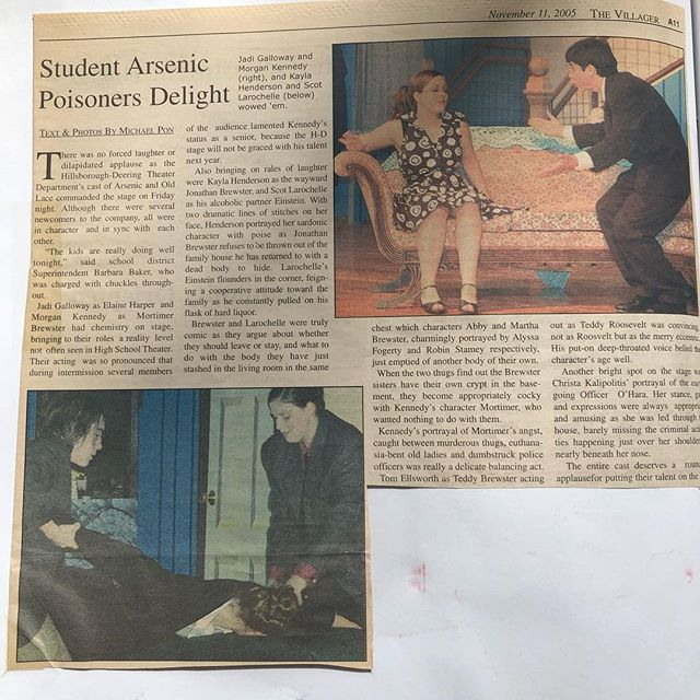 My (@rstamey / @sevenengines) last post of my takeover and it's a a #spolieralert: My students don't know that I once performed in Arsenic and Old Lace as one of the aunts. Here's a newspaper clipping of a review from my hometown of Hillsboro, NH. I can only hope that the students of Players find as much fun, hope, challenge, and love in their high school theater club experience as I did. Lifetime friendships were developed more than half my lifetime ago by the common goal of being involved in theater- and it's even now my career. All of the skills I use as a designer and production manager carry over to every aspect of my life and The Philadelphia Design Center helps me continue to thrive as an artist, educator, and citizen. 🎭 This is my last post, but check out the stories for how I finish out my day!