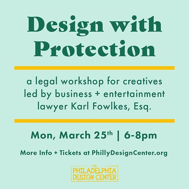 And we're back to our regularly scheduled programs! Design with Protection: come talk with @esqfowlkes about your intellectual property, the legalities of working as an independent contractor, and how to make sure you're protected. FREE for members and $10-$25 for non-members. Tickets: pdc.ticketleap.com/dwp