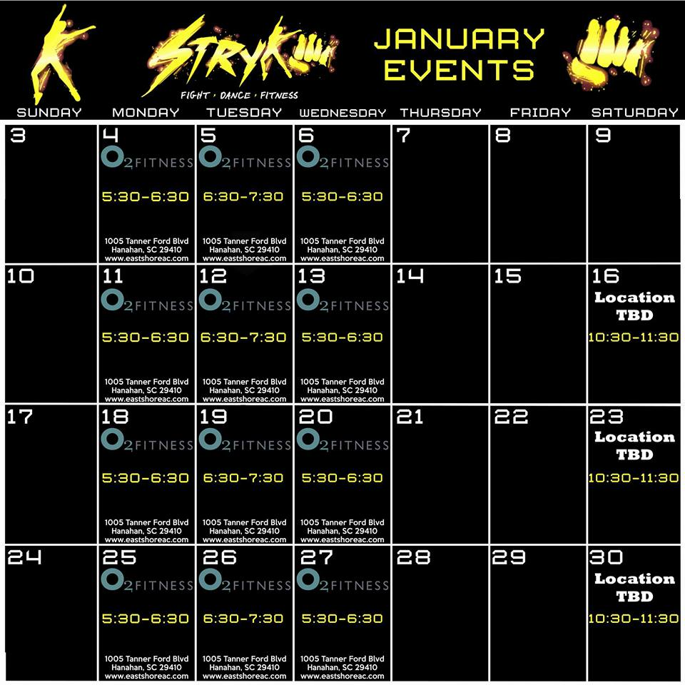 Stryke Fitness January Class Schedule