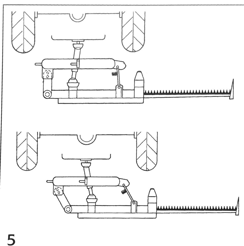 Olika inställningar i sidled för olika traktorstorlekar.