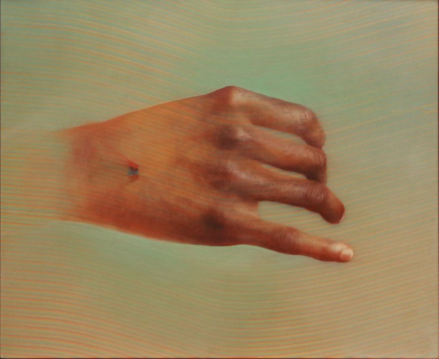 Hand for Horace Greeley 2, Oil, resin and acrylic on panel, 18.5 x 20.25 in. (2013) Aaron Holz