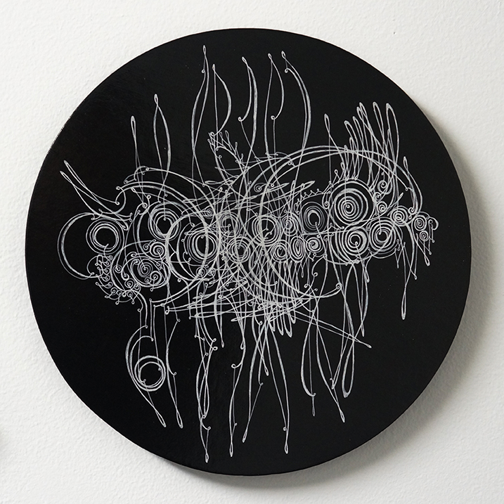 "Camille Hawbaker, LXIV, 2015, ink, paper on panel, 10"" round."