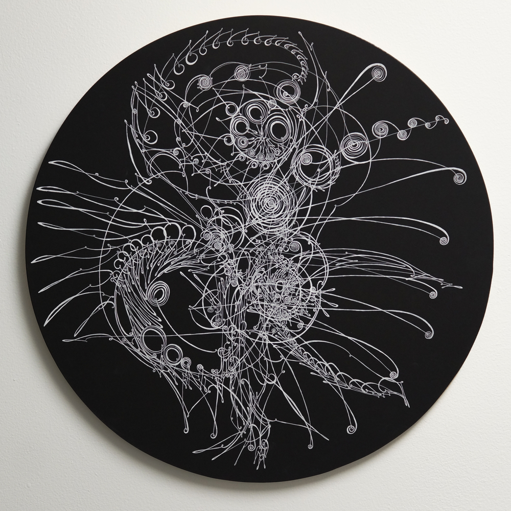 "Camille Hawbaker, LXXX, 2015, ink, paper on panel, 20"" round."