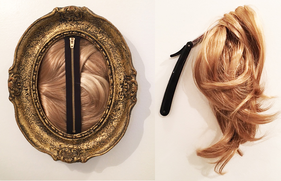 (left) Zip, Maja Radanovic, 2016, artificial hair, plaster, zipper, 11 x 9 in.  (right) Chupaj, Maja Radanovic, 2016, artificial hair, metal, wood, dimensions variable