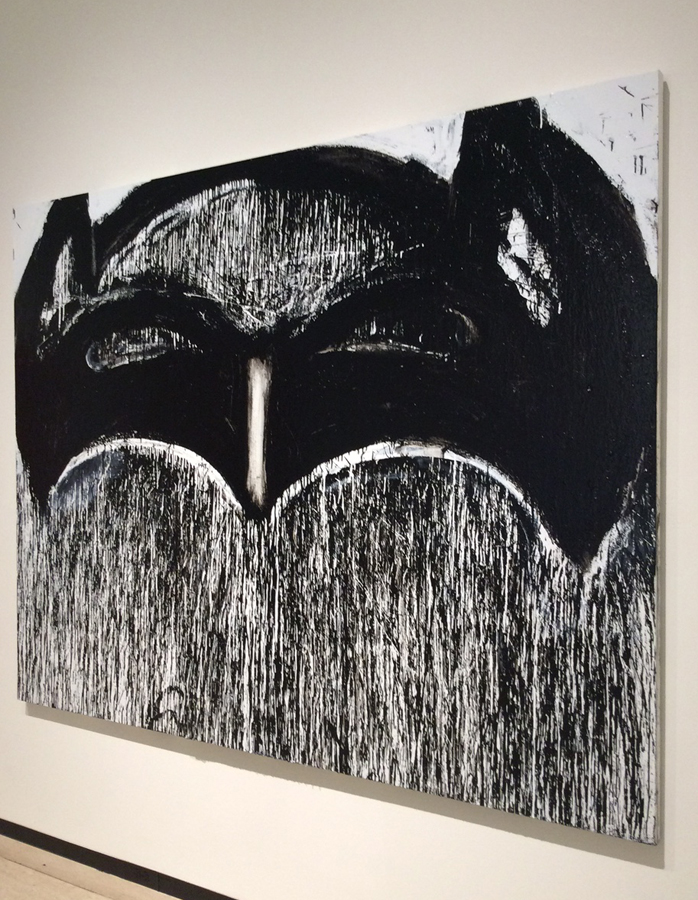 Joyce Pensato,  Sunset Batman , Enamel on linen (2016), Courtesy of the and Petzel New York