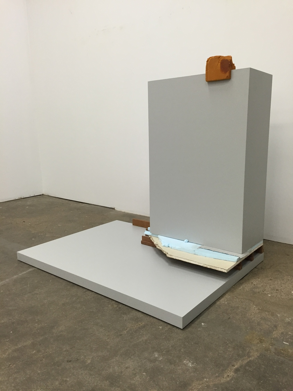 Josh Johnson, Outcropping  (2016)balsa foam, polystyrene, sheet rock,cedar, plywood, latex paint