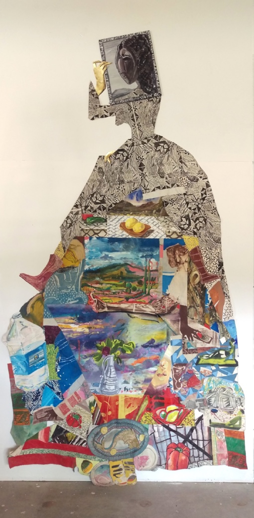 Paual Wilson Lady, 2016 Acrylic, oil, woodblock print, monotype, gold leaf, on canvas, muslin, and board Dimension variable Courtesy the artist
