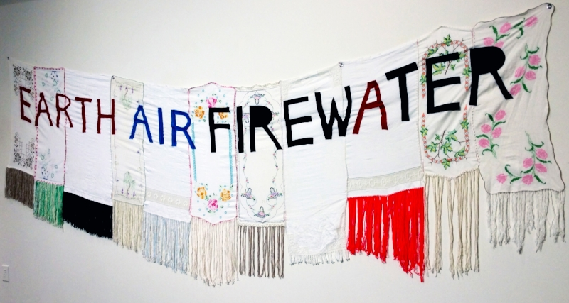 Sarah Rowe, Earth, Air, Firewater, 2016, mixed media fabrics, linen, and yarn