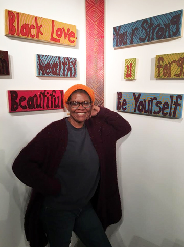 Patty Talbert in gallery. Courtesy of the artist.