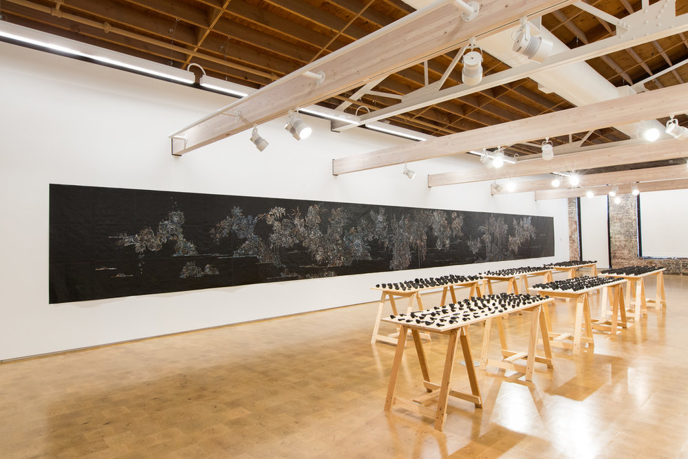Nancy Friedemann-Sánchez, installation shot of River and Crisoles. Photo credit Dana Damewood
