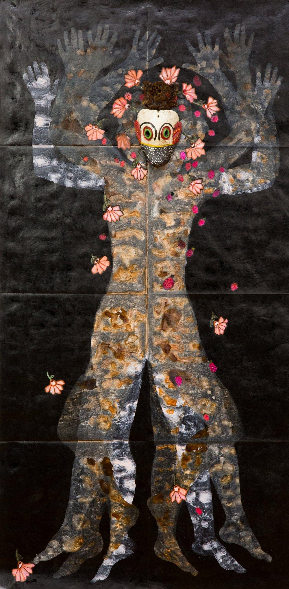 Nancy Friedemann-Sánchez, China Cambuja , from the Casta Paintings, 2017, mopa mopa, tyvek, and readymade. Photo credit Dana Damewood