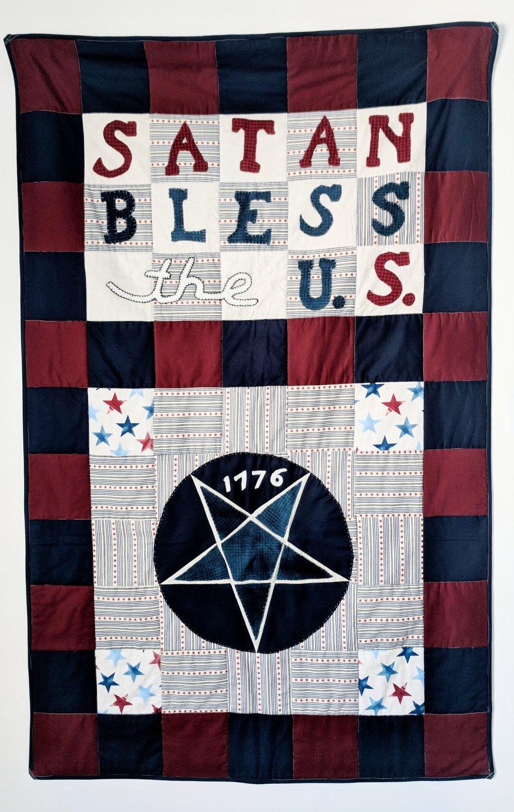 John Skinner,  Satan Bless the U.S .,2018, cotton, wool, 59½ × 37¾ inches