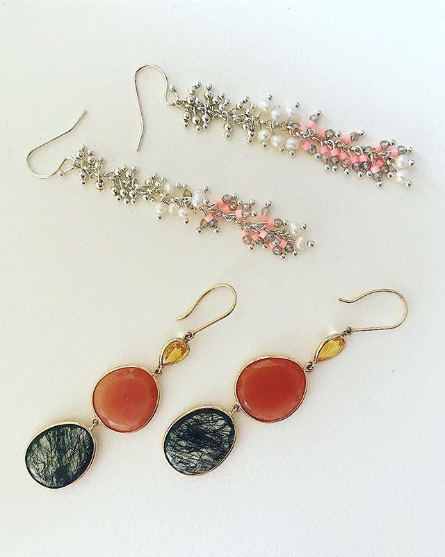 Daytime ☀️ Nighttime 💎  #marissaalperinstudio #handmadejewelry #summercollection #moonstone #sapphire #rutilatedquartz #gold #silver #pearls #shoplocal #earrings #oneofakindjewelry