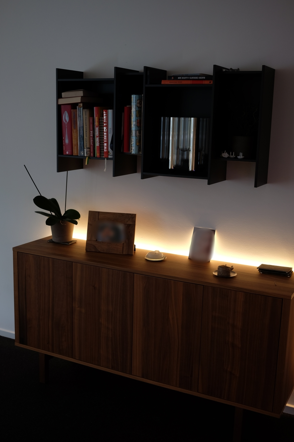 Philips Lightstrip Plus on sideboard
