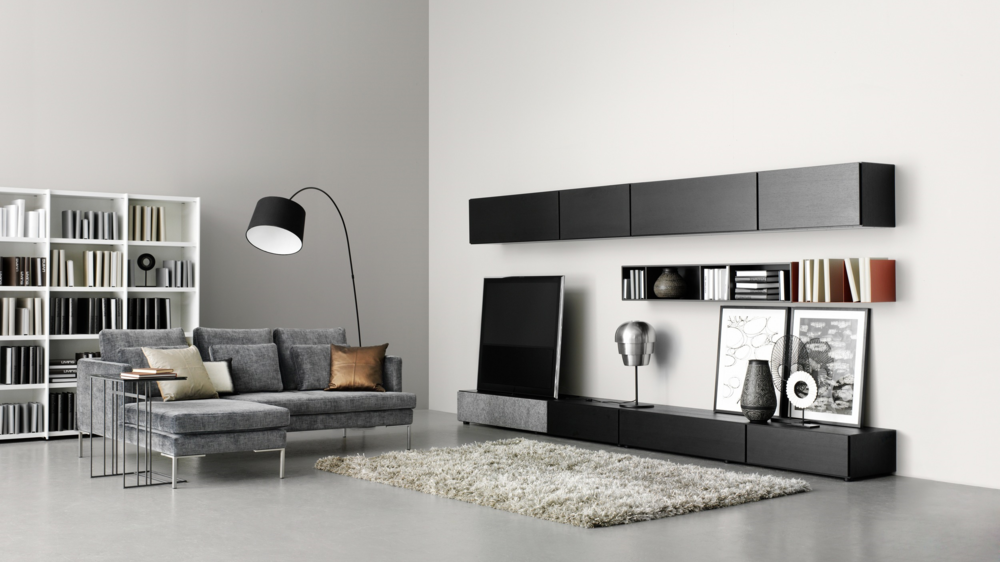 BoConcept lugano media unit with grey felt speaker cover - photograph courtesy of boconcept