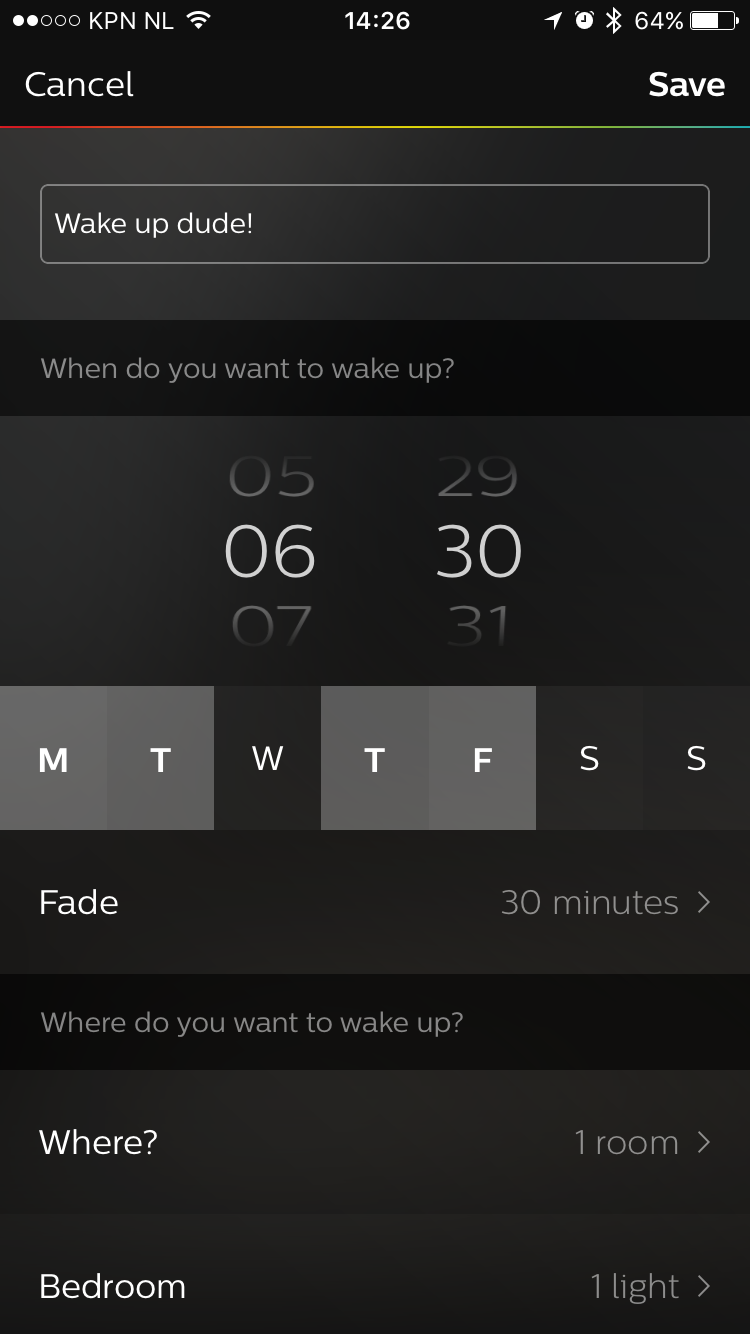 Wake up light settings