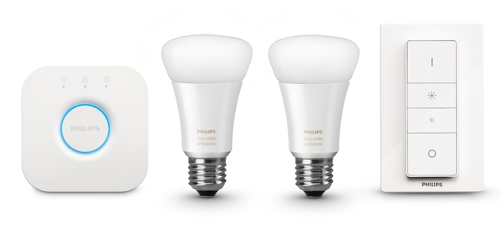 Content of the Philips Hue White Ambiance kit - Photograph courtesy of Philips Lighting.
