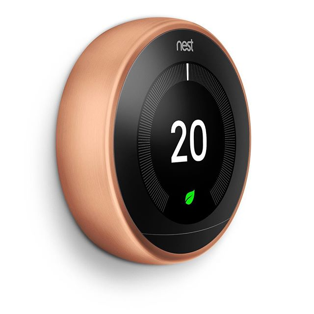 The cool #nest #thermostat goes #copper but also black and white to better match your #interiordesign