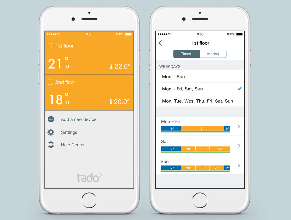 Tado app zone selection and schedule configuration