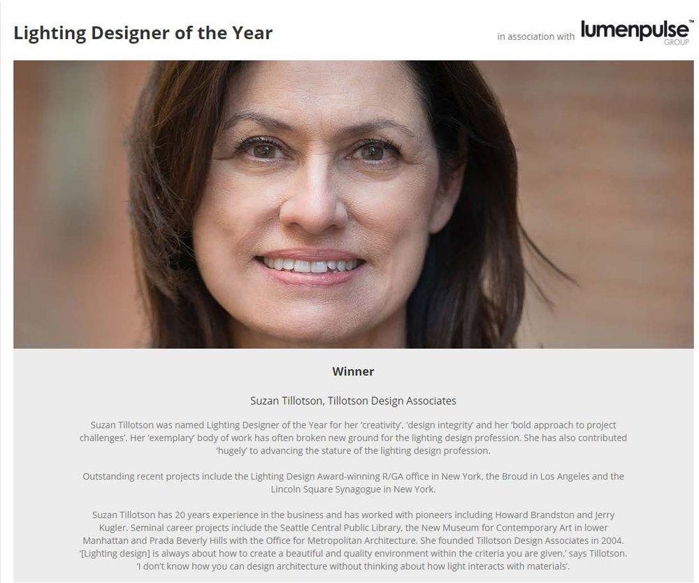 TILLOTSON DESIGN ASSOCIATES u2014 Suzan Tillotson named the 2017 LDA Lighting Designer of the Year!  sc 1 st  Tillotson Design Associates & TILLOTSON DESIGN ASSOCIATES u2014 Suzan Tillotson named the 2017 LDA ...
