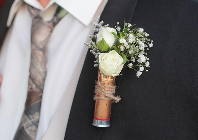 So I went to this wedding in Tennessee... #CamoTie #bulletshellboutonnière