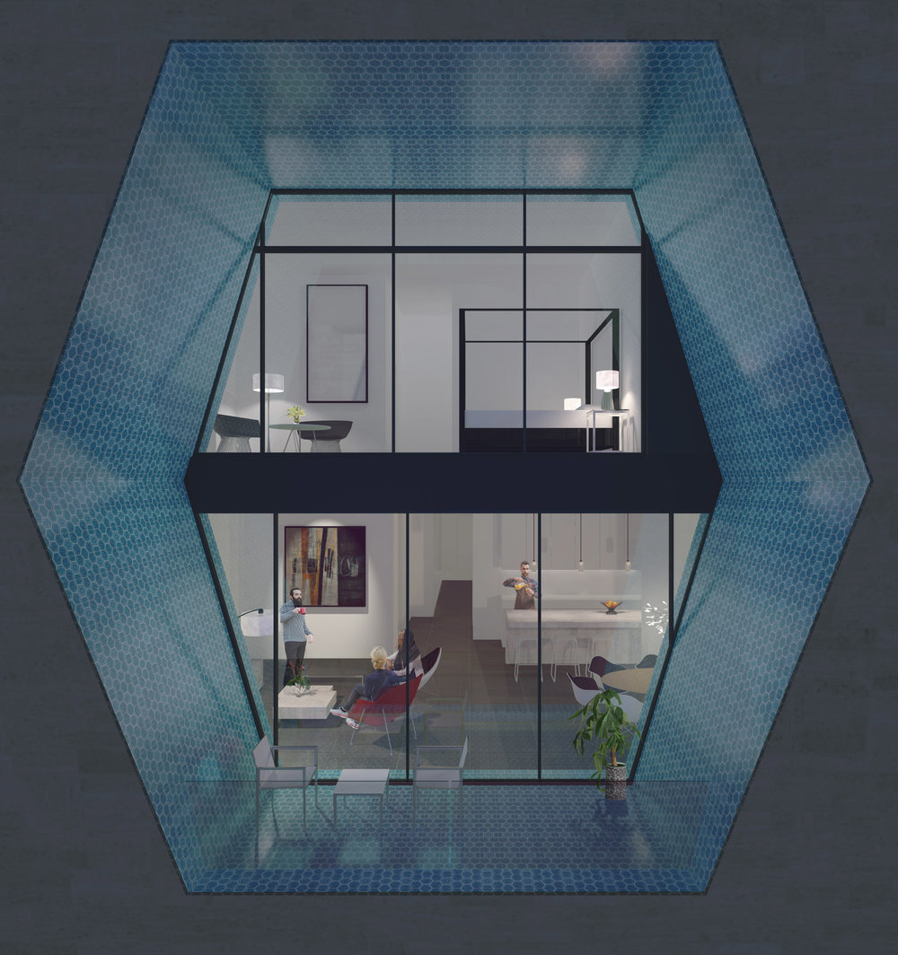 Dorfaki Khazar Condominium- FRONT RENDER HEXAGON CLOSE UP