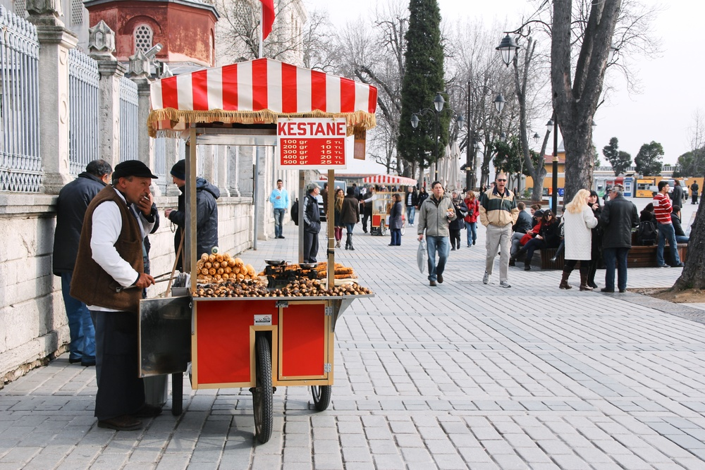 Every so often there would be a man selling roasted chestnuts and the smells were intoxicating!
