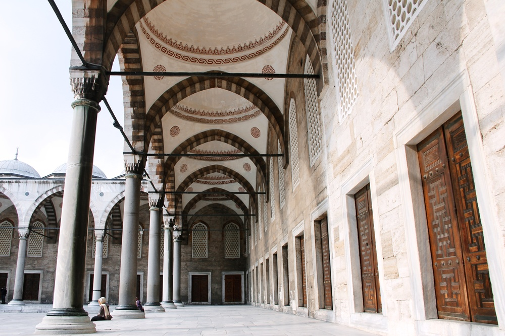 Inside the grounds of the Blue Mosque.