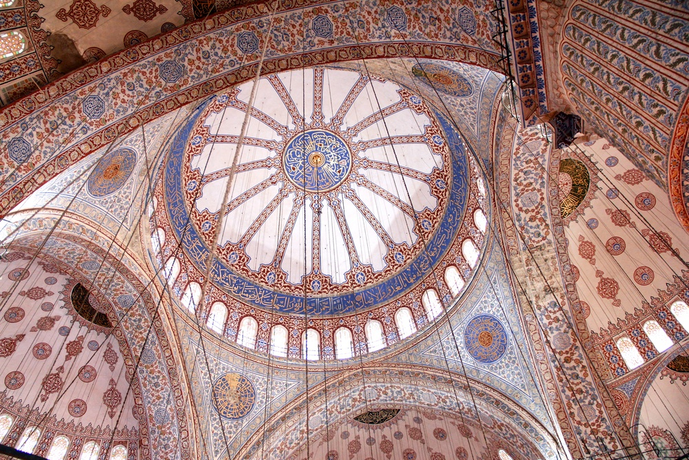 Inside the Blue Mosque. I could have spent hours staring at the intricate patterns and details of the different domes. I can't believe this exists!