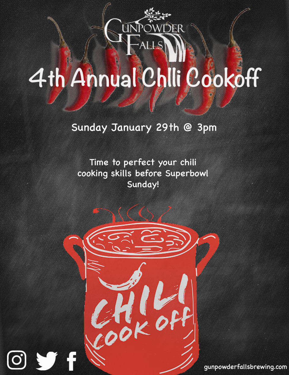 Time to get out your slow cookers and perfect the recipe.  It's time for our Annual Chili Cookoff on Sunday January 29th starting at 3pm! There will be 3 categories this year (Red, White, and Game) At time of the event, we will need: Your name, the category you are entering, email, and phone number.  Prizes will be awarded for best tasting chili in each category. You will need to bring your own crock pot. The amount you bring is up to you.  We do, however, suggest at least 2 quarts (more is always welcome) so there's enough for sampling by everyone in attendance! Tell your friends, tell your family...the more chili, the merrier!