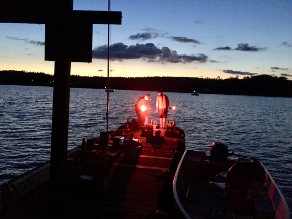 Setting the fireworks off from the dock on Sean and Shawna's island!  Mark and Pat get ready and....