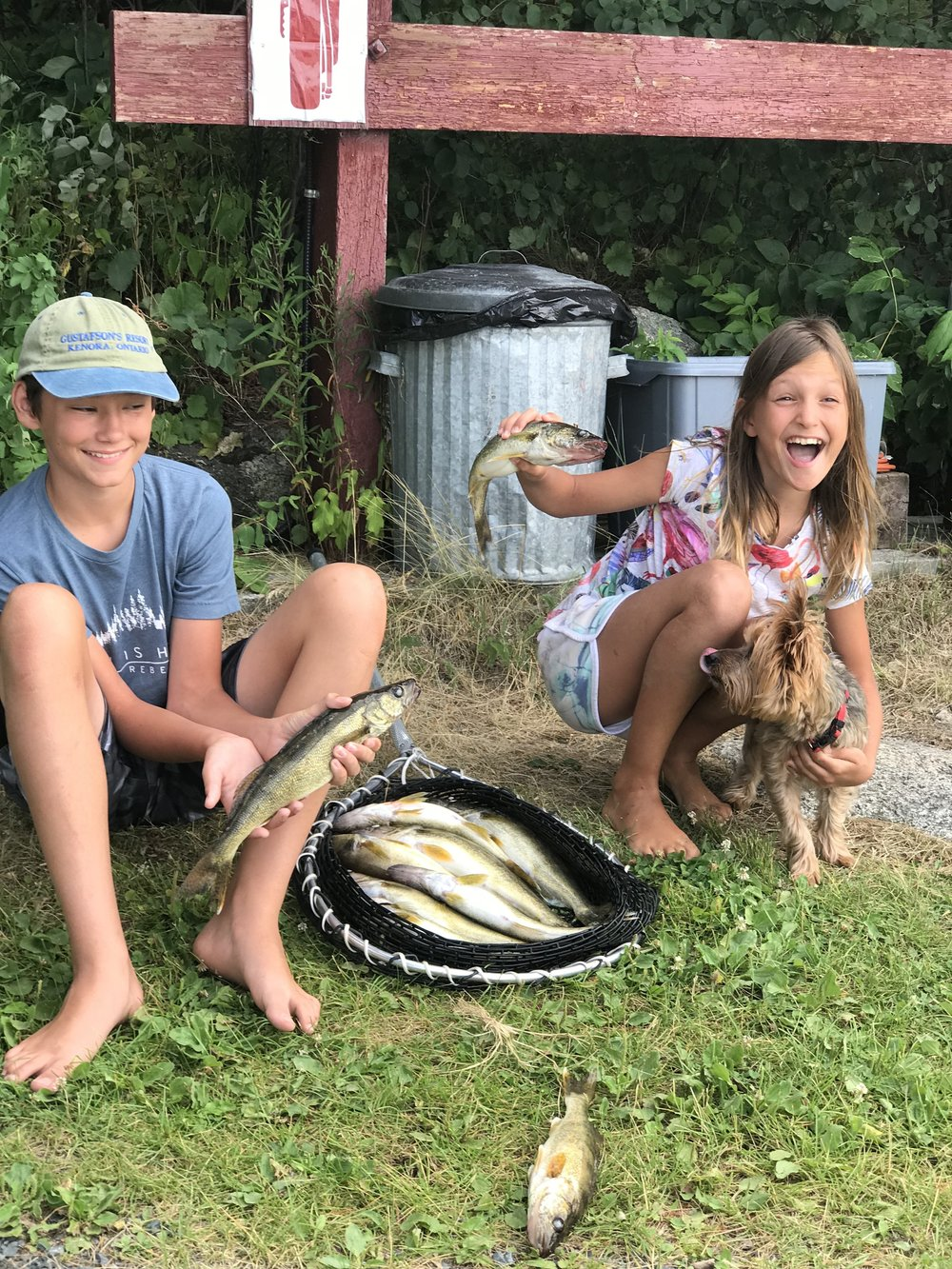 Elise & Rowan with the morning catch...