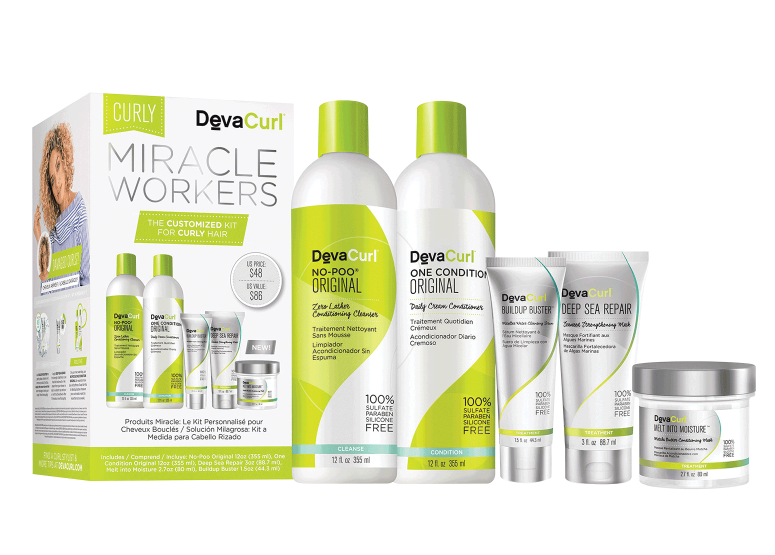 Curly Miracle Workers - $48 - This kit consists of 5 beautiful DevaCurl products including three of their new treatment products to keep your hair healthy and hydrated. No-Poo® Zero Lather Conditioning Cleanser is their original, best-selling cleanser. The moisturizing, non-lathering formula with peppermint and grapeseed oil, stimulates and cleans the scalp and hair without stripping away the natural oils your curls need. On Condition locks in moisture for healthy curly hair. This rich, creamy conditioner is made with moisturizing olive oil and nourishing botanicals to deliver softness and hydration. NEW Buildup Buster is for anyone whose curls are feeling weighed down, dull and undefined as a result of buildup from product, hard water or environmental stressors. NEW Melt into Moisture, a nourishing treatment mask that is like a magical elixir for dehydrated curls. This nutrient-rich, buttery formula effortlessly melts into hair without feeling heavy. All curl types are left feeling shiny, silky-soft and completely transformed. NEW Deep Sea Repair, a ultra-reparative treatment that reverses the hair-hating effects of heat damage and chemical treatments, while protecting from environmental stress and breakage. The reviving formula transforms damaged hair, bringing texture and definition back to life with a lightweight look and feel. Perfect choice for : Any textured hair