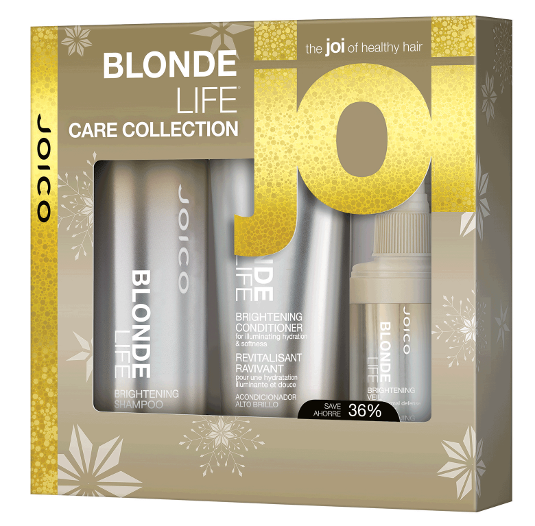 Blonde Life Care Collection - $37 - There's nothing wrong with having a blonde moment. Especially if that moment is spent gently cleansing your highlighted hair with our extraordinary sulfate-free shampoo-a satisfying experience that lifts away dirt and oil, restores hair's optimal pH level, banishes brass, and produces a luscious lather that most sulfate-free shampoos simply can't muster.  We've teamed the lightness of a lotion and the power of a serum in our deeply nourishing conditioner that instantly revives blonde hair without weighing things down. Each highlighted strand is polished to a high gleam, giving you the kind of champagne shine and detangling power that makes you feel bubbly all over. The Brightening Veil is a multi-tasking wonder that treats vulnerable blonde locks and protects them from mechanical, thermal and UV damage for beautifully brilliant, healthy looking blondes that shine. Perfect choice for : Any lightened hair - caramel to bright blonde.