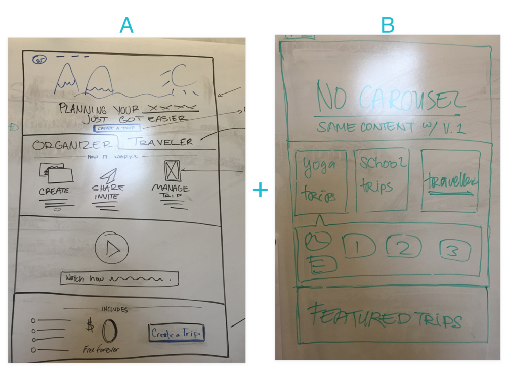 Initial whiteboard wireframes for the two versions
