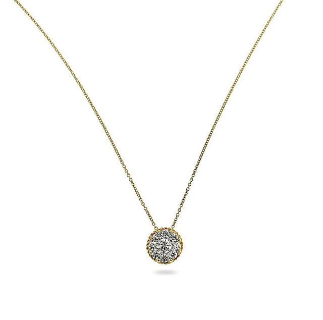 Diamond cluster with a rope edge. 1.00ct #jewelrypie #necklace #diamondnecklace #jcklasvegas2018 #jisexchange