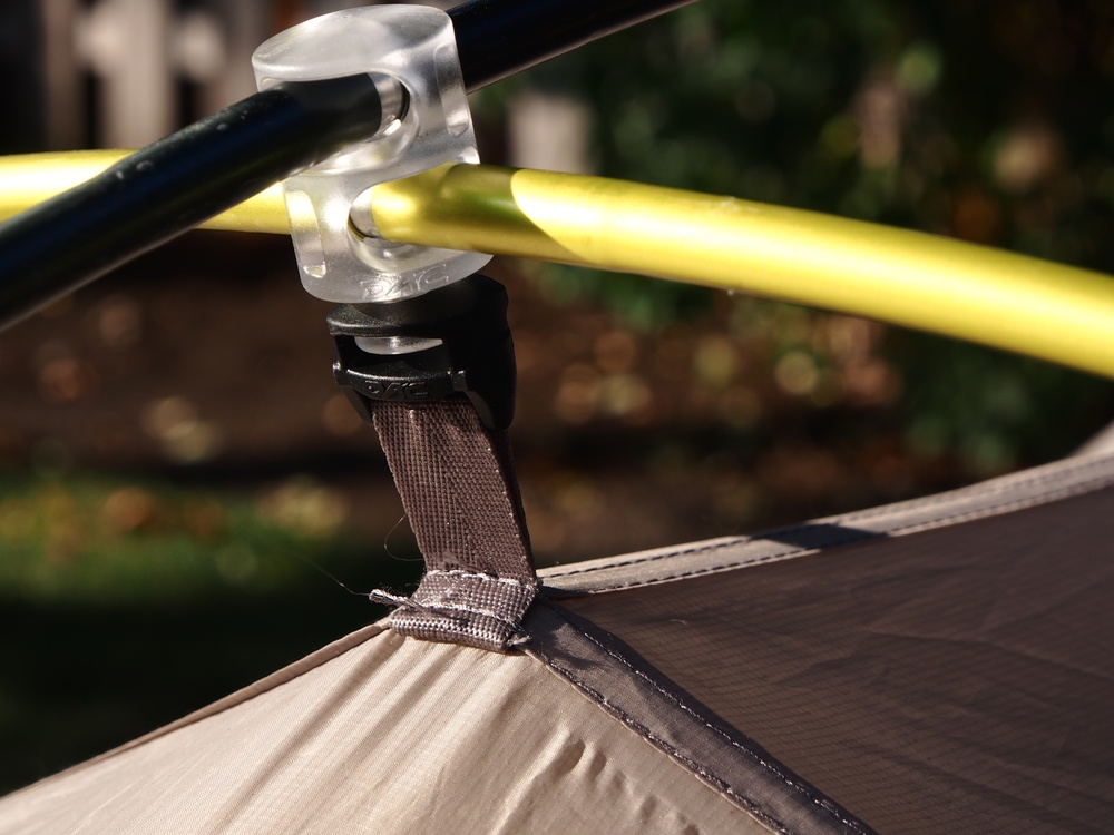 Pictured above is another example of the external pole design of the Lightning 2 FL.  Two of these hub designs are attached to the rain fly, one at the front of the tent and one at the aft.  Stake your corners, assemble the poles, attach these hubs to the poles, and start clipping everything in.  Quick and easy with no confusion.