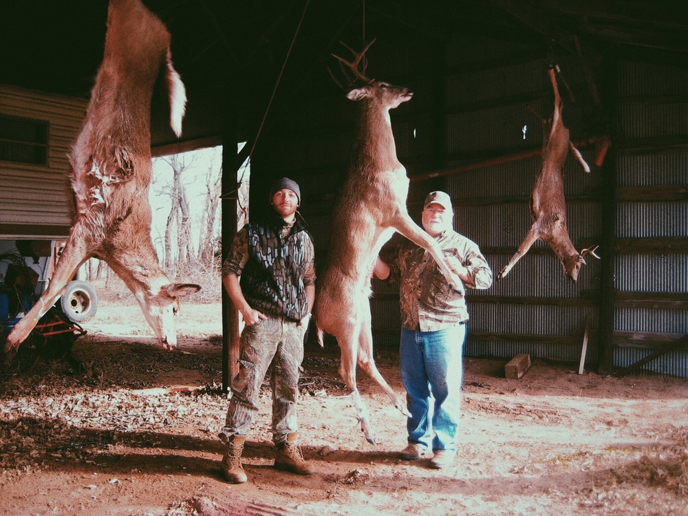 I'm choosing to post this photo of my Dad and I from a few years back because this is what hunting is. All three of these deer were well cared for from beginning to end and the doe on the left of the photo was my Dads first big game harvest. That's a story in itself! He made a lever action .308 sound like a semi-auto from all the excitement he had running in his veins. He only hit her once from the first shirt but the follow up shots probably made it look like a scene from the Shootout at the O.K. corral.