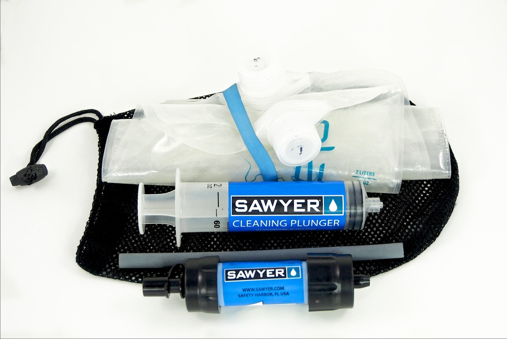 Here's my filtration kit.  A Sawyer Mini with two 2 liter Platypus bags (one dirty, one clean).  It's freakishly light and is always with me, even if it's just a day trip.