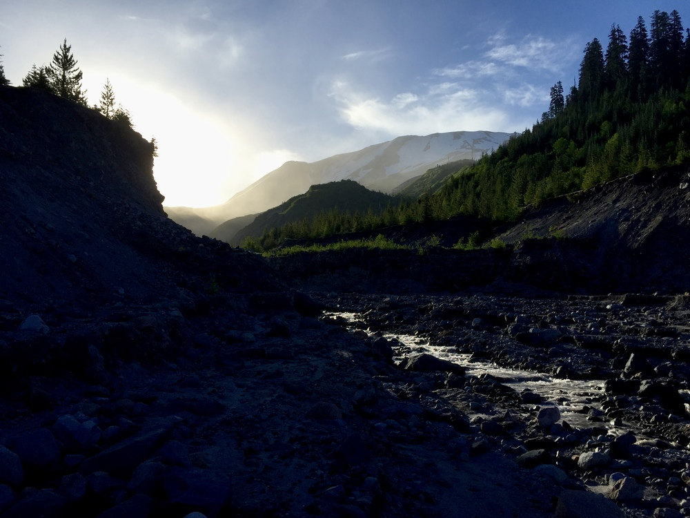 Sunrise on the Toutle River.