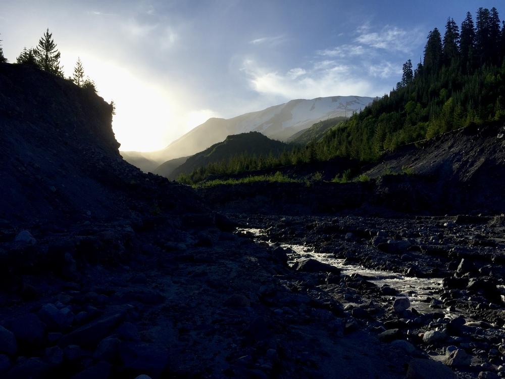 Sunrise on the Toutle River.