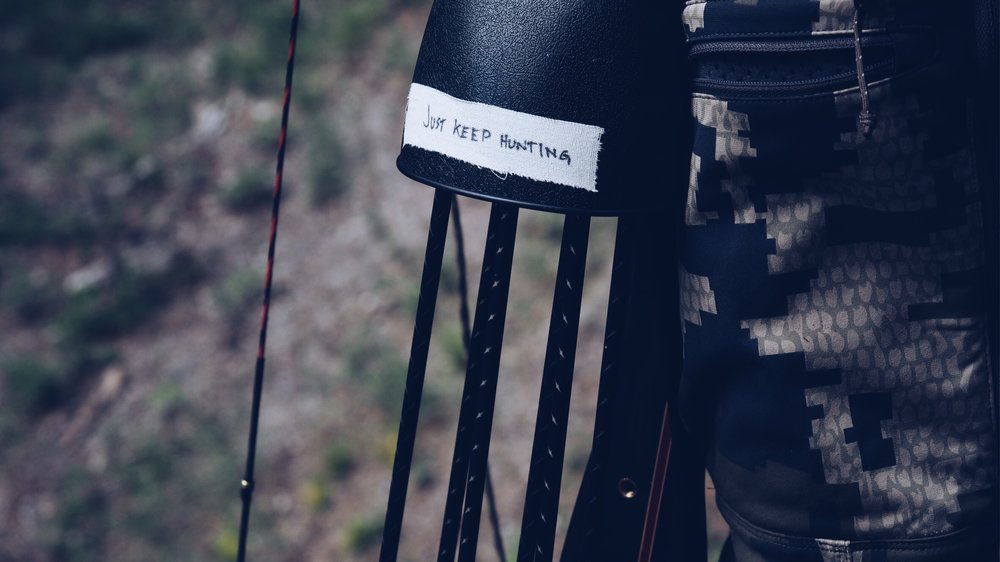I made this note to myself and slapped it on my bow to help me remain focused when things get tough.  It was a great to see this all day every day.  Photo by Dustin Evans